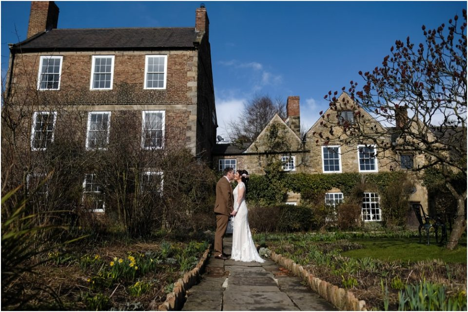 crook hall wedding couple