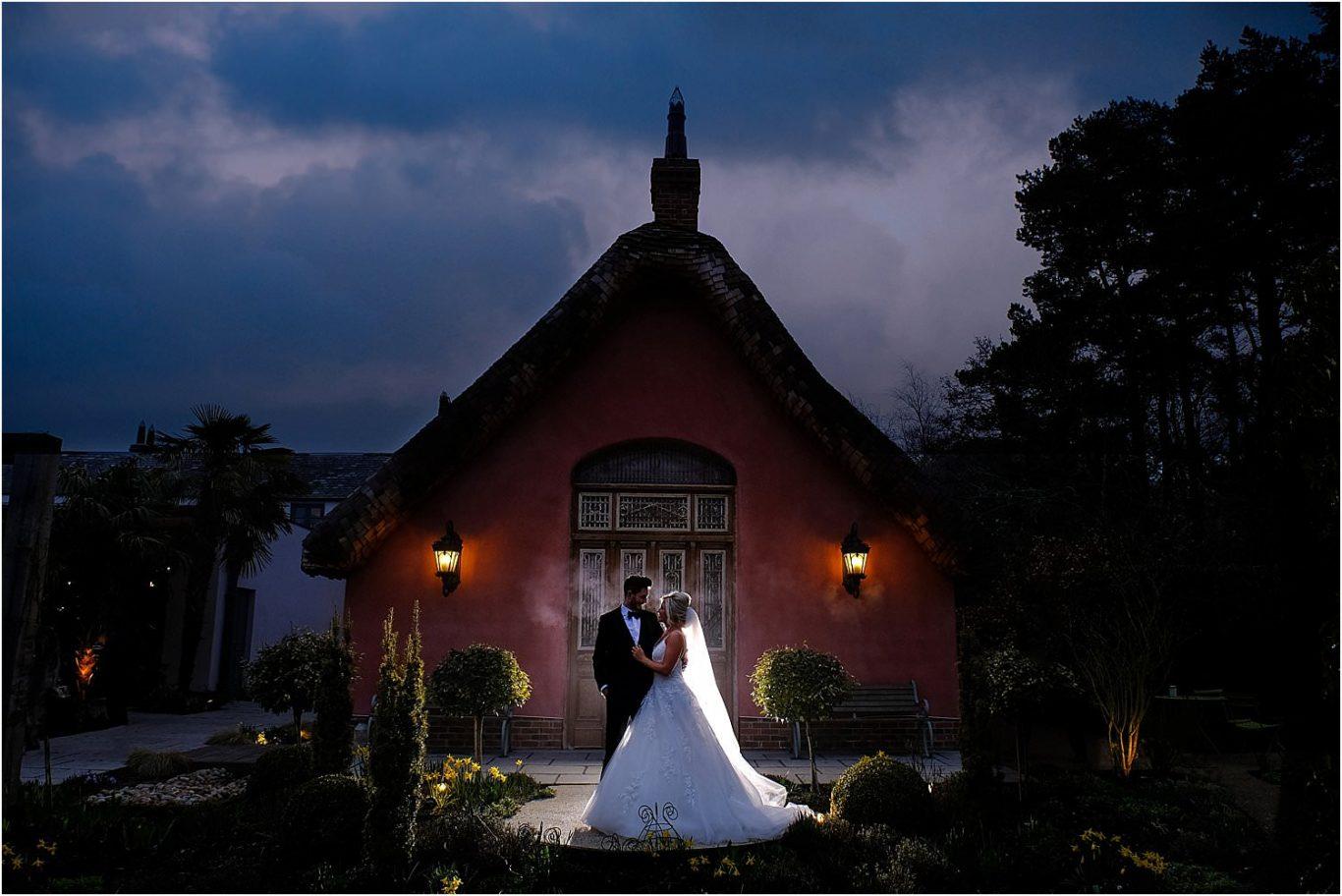 happy couple outside of chateau