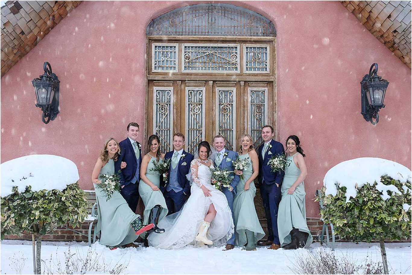 bridal party in snow