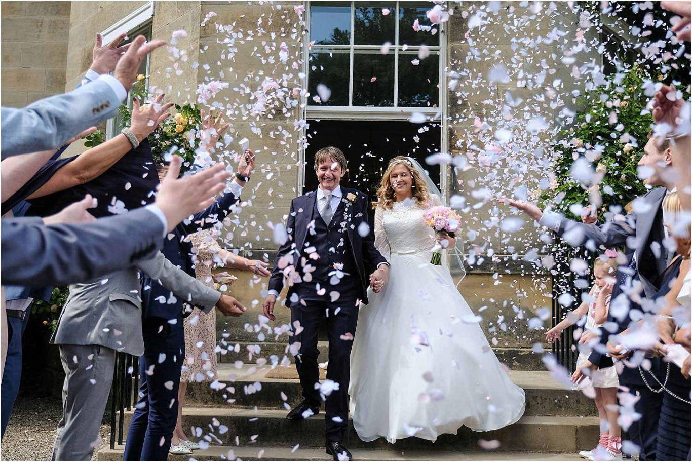 couple with confetti
